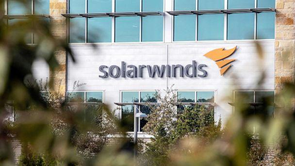 PHOTO: The SolarWinds logo adorns the IT company headquarters in Austin, Texas, Dec. 18, 2020.  (Sergio Flores/Reuters, FILE)