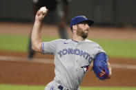 Toronto Blue Jays relief pitcher Anthony Bass (52) works the ninth inning of a baseball game against the Atlanta Braves Wednesday, Aug. 5, 2020, in Atlanta. (AP Photo/John Bazemore)