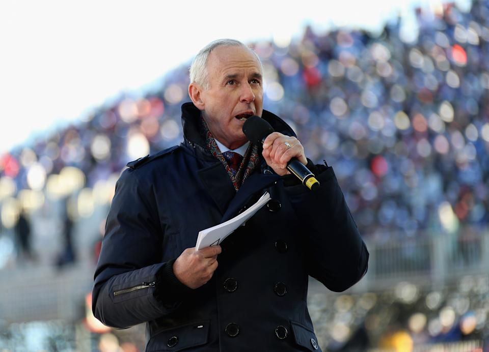 TORONTO, ON - JANUARY 01:  Sportscaster Ron MacLean announces the Top 33 of 100 NHL players before the start of the 2017 Scotiabank NHL Centennial Classic to be played between the Detroit Red Wings and the Toronto Maple Leafs at Exhibition Stadium on January 1, 2017 in Toronto, Ontario, Canada.  (Photo by Dave Sandford/NHLI via Getty Images)