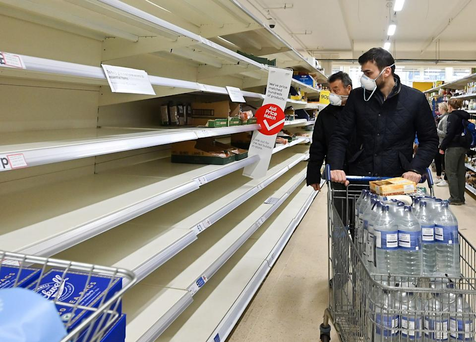 empty shelves at a supermarket in London: AFP via Getty Images