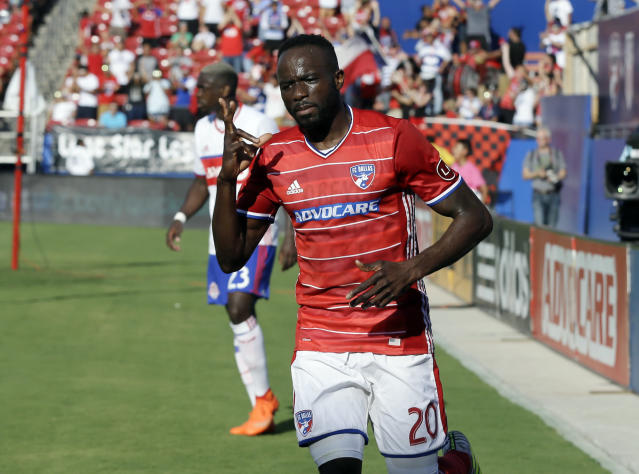 FC Dallas' Roland Lamah gestures after scoring his second goal of the day against Toronto FC, in the first half of an MLS soccer match, Saturday, July 1, 2017, in Frisco, Texas. (AP Photo/Tony Gutierrez)