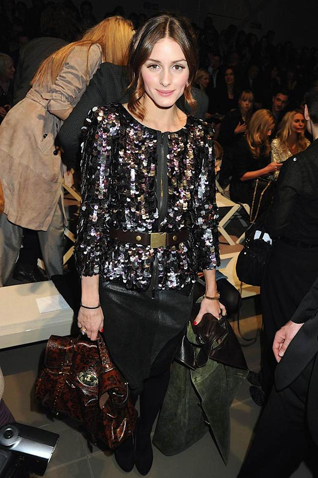 "Taking a break from ""The City,"" reality star Olivia Palermo was stunning in sequins at the Burberry show. Dave M. Benett/<a href=""http://www.gettyimages.com/"" target=""new"">GettyImages.com</a> - February 23, 2010"