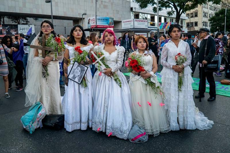 Hundreds of women took to the streets in Mexico City, on 25 November 2018 as part of the international day against violence against women, demanding more security for all of them and justice for cases of femicide in the country. (Photo by Jair Cabrera/NurPhoto via Getty Images)