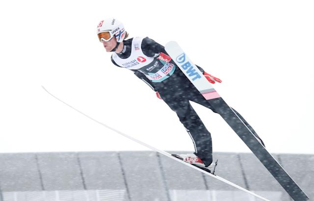 FIS Ski Jumping World Cup - Men's HS134 - Oslo, Norway - March 11, 2018. Daniel Andre Tande of Norway competes. NTB Scanpix/Terje Bendiksby via REUTERS ATTENTION EDITORS - THIS IMAGE WAS PROVIDED BY A THIRD PARTY. NORWAY OUT. NO COMMERCIAL OR EDITORIAL SALES IN NORWAY.