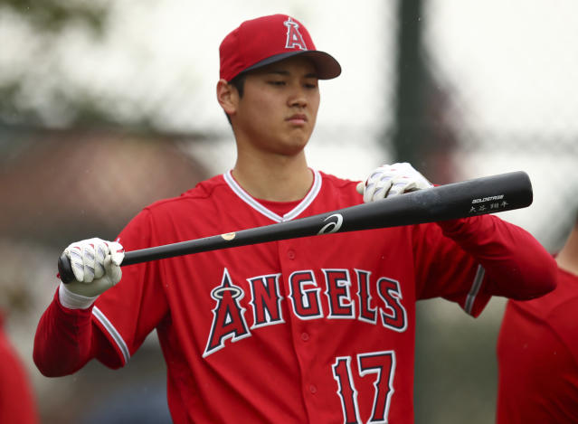 Los Angeles Angels' Shohei Ohtani during a spring training baseball batting practice on Wednesday, Feb. 14, 2018, in Tempe, Ariz. (AP)