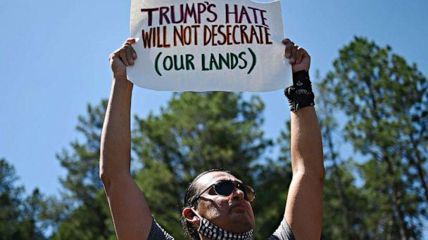 PHOTO: Activists and members of different Native American tribes from the region protest near the Mount Rushmore National Monument in Keystone, South Dakota, July 3, 2020. (Andrew Caballero-reynolds/AFP via Getty Images)