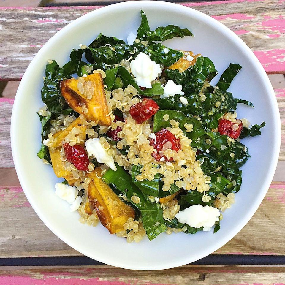 "<p>Feta and dried cranberries take healthy ingredients like quinoa and kale from ho-hum to hell yeah.</p><p>Get the recipe from <a href=""https://www.delish.com/cooking/recipe-ideas/recipes/a43966/roasted-sweet-potatoes-quinoa-kale-dried-cranberries-feta-recipe/"" rel=""nofollow noopener"" target=""_blank"" data-ylk=""slk:Delish"" class=""link rapid-noclick-resp"">Delish</a>.</p>"