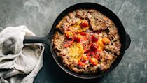 """This recipe pairs juicy tomatoes with tangy cheese, fresh herbs, and a flaky crust. This weekend is last call for these flavors, and there isn't a better way to enjoy them. <a href=""""https://www.epicurious.com/recipes/food/views/tomato-pie-sour-cream-crust?mbid=synd_yahoo_rss"""" rel=""""nofollow noopener"""" target=""""_blank"""" data-ylk=""""slk:See recipe."""" class=""""link rapid-noclick-resp"""">See recipe.</a>"""