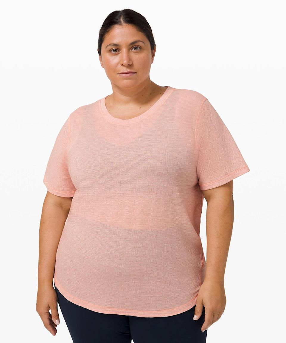<p>Everyone needs a great workout t-shirt, and that's exactly what this <span>Lululemon Long Distance Short Sleeve</span> ($68) is.</p>