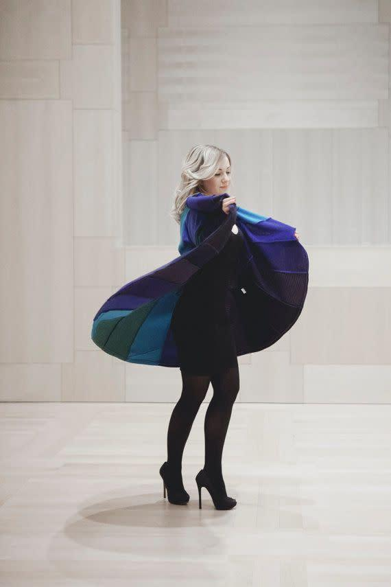 <span>Coola Woola</span> designer, Lena, was destined for a career in sustainable fashion. She's been sewing with her mother since before she could remember, so it's no surprise that she has her own line of eco-friendly color-blocked coats, capes and scarves made from up cycled wool sweaters.