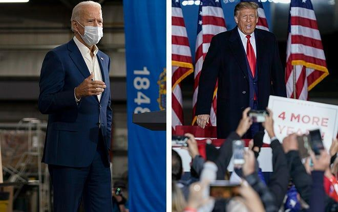 Former Vice President Joe Biden, left, campaigns in Manitowoc on Sept. 21, and President Donald Trump campaigns at the Central Wisconsin Airport in Mosinee on Sept. 17.
