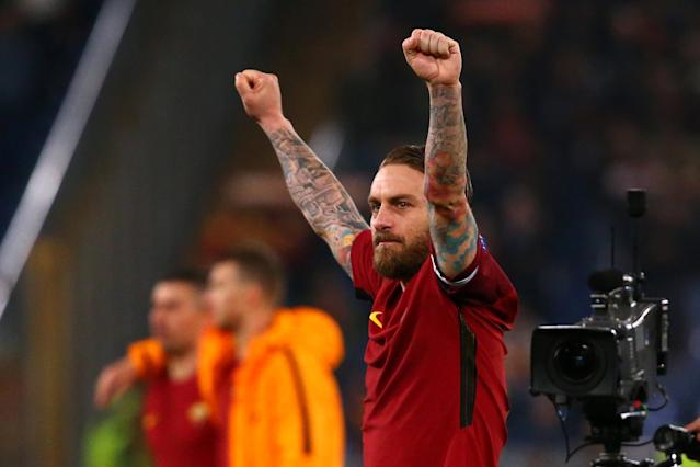 Soccer Football - Champions League Round of 16 Second Leg - AS Roma vs Shakhtar Donetsk - Stadio Olimpico, Rome, Italy - March 13, 2018 Roma's Daniele De Rossi celebrates after the match REUTERS/Alessandro Bianchi
