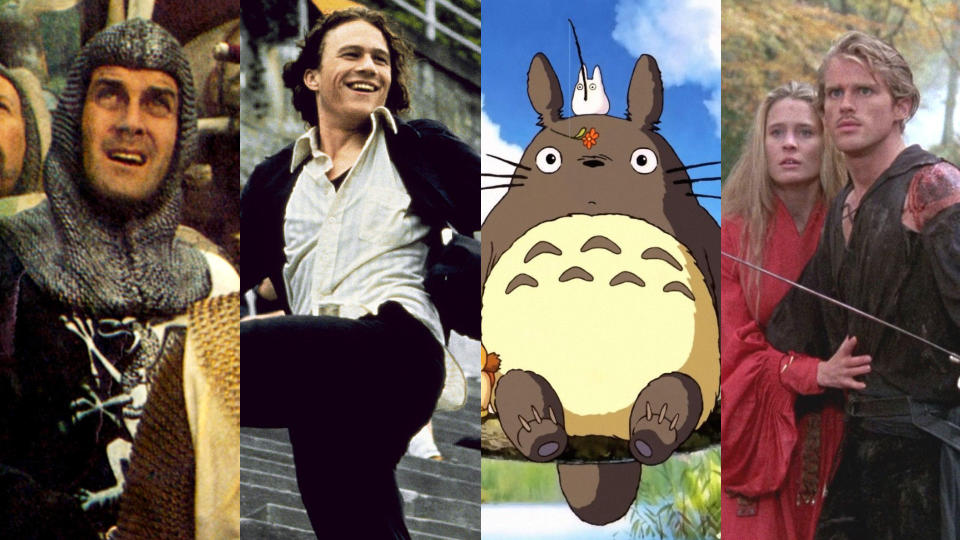 'Monty Python and the Holy Grail', '10 Things I Hate About You;, 'My Neighbour Totoro' and 'The Princess Bride'. (Credit: LMPC/Getty/Buena Vista/Ghibli/Fox)