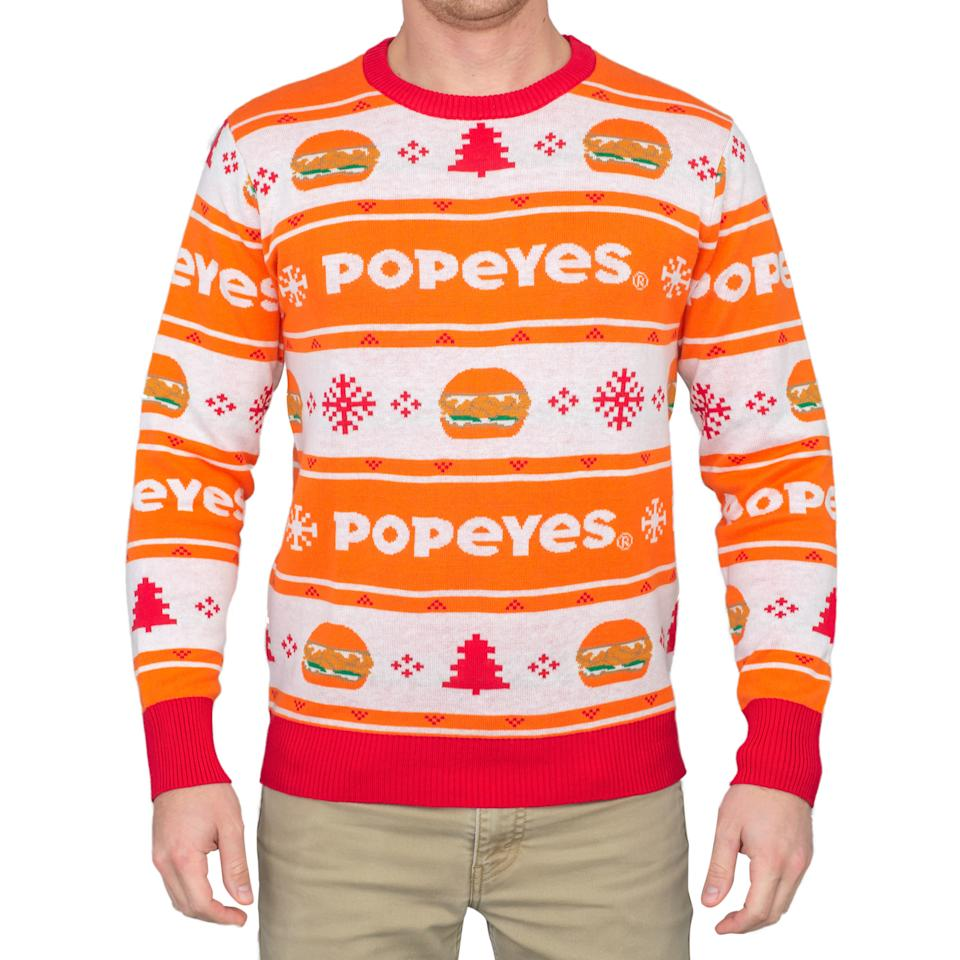 Popeye's chicken sandwich ugly Christmas sweater (Credit: uglychristmassweater.com)
