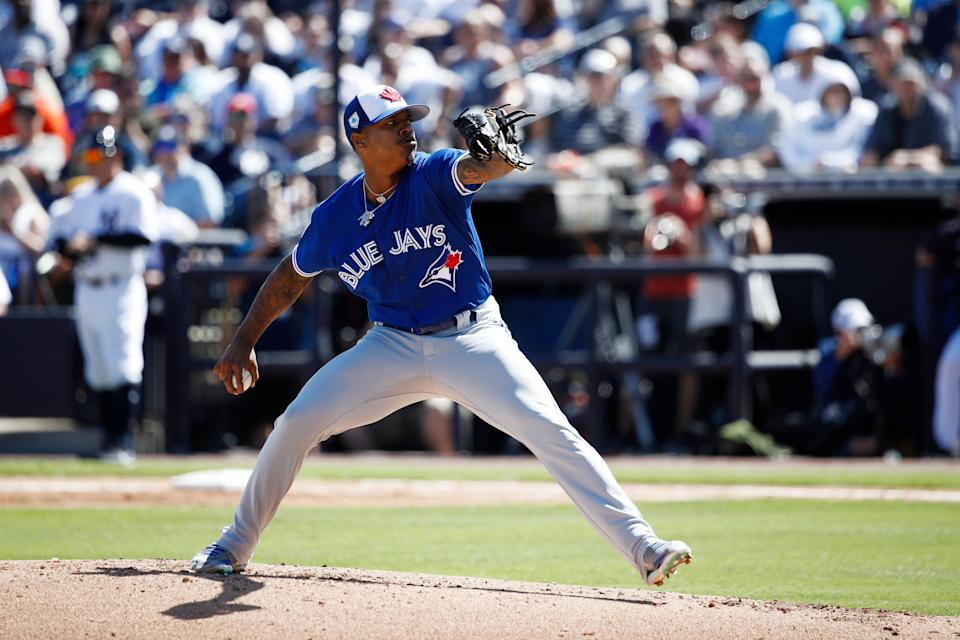 TAMPA, FL - FEBRUARY 25: Marcus Stroman #6 of the Toronto Blue Jays pitches during a Grapefruit League spring training game against the New York Yankees at Steinbrenner Field on February 25, 2019 in Tampa, Florida. The Yankees won 3-0. (Photo by Joe Robbins/Getty Images)
