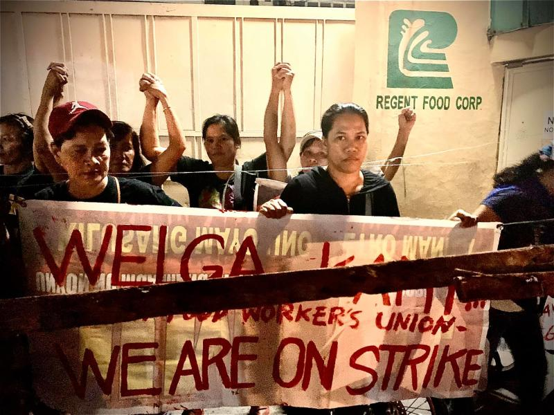The workers of Regent on strike in October. Photo: Defend Job Philippines