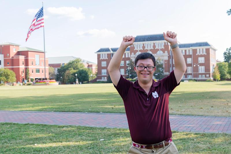 Spencer Kirkpatrick shows his school spirit. He was elected homecoming king at Mississippi State University Tuesday, Oct. 8, 2019.