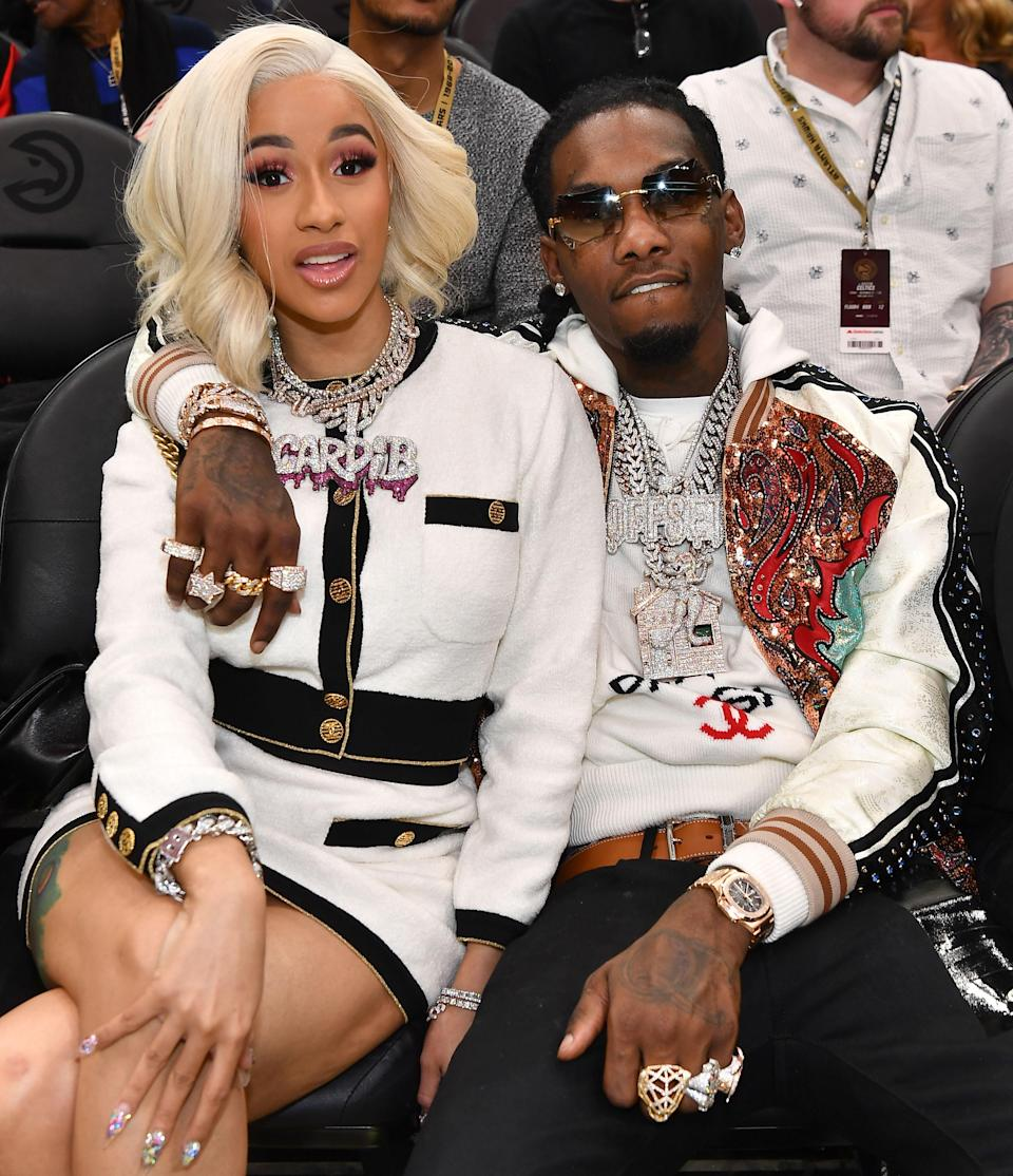 Cardi B and Offset attended a basketball game on Nov. 23. (Photo: Paras Griffin/Getty Images)