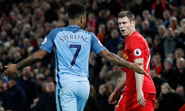 """<span class=""""element-image__caption"""">Raheem Sterling was all but marked out of proceedings by James Milner, right, when Manchester City lost at Anfield in December.</span> <span class=""""element-image__credit"""">Photograph: Carl Recine/Reuters</span>"""