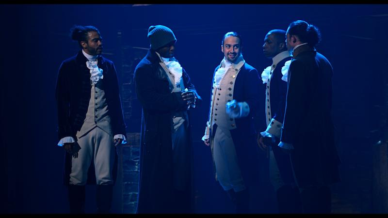 Daveed Diggs is the Marquis de Lafayette, Okieriete Onaodowan is Hercules Mulligan, Lin-Manuel Miranda is Alexander Hamilton, Leslie Odom, Jr. is Aaron Burr and Anthony Ramos is John Laurens in HAMILTON, the filmed version of the original Broadway production. (Disney+)