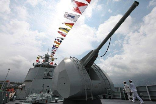 The gun of Chinese missile destroyer Haikou (171) is seen in Hong Kong on in April 2012. The Pentagon assessment also accused China of exploiting Western commercial technology and buying more anti-ship missiles. Washington has routinely urged Beijing to be more open about its military intentions