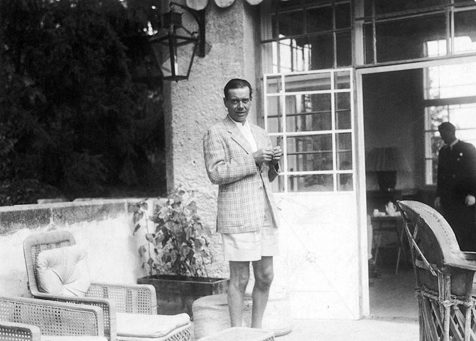 <p>American composer Cole Porter relaxes on a patio in Austria.</p><p>Other celebrity visitors this year: Marlene Dietrich, dancer Lilian Harvey.<br></p>