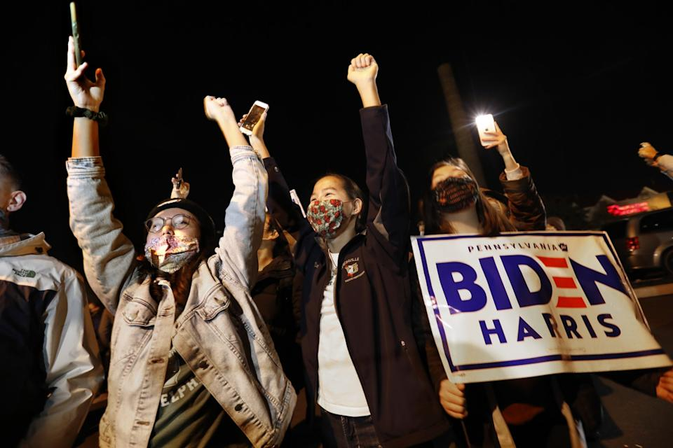 Supporters cheer as the Biden motorcade arrives at Chase Center in Wilmington, Del., on Thursday.