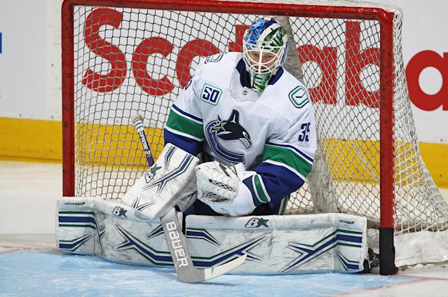 """<a class=""""link rapid-noclick-resp"""" href=""""/nhl/players/6405/"""" data-ylk=""""slk:Thatcher Demko"""">Thatcher Demko</a> had a rough go of it in February. (Photo by Claus Andersen/Getty Images)"""