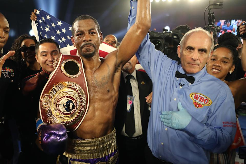 KISSIMMEE, FL - MAY 25: Jamel Herring celebrates his victory over du Masayuki Ito during the WBO World Title fight at Osceola Heritage Park on May 25, 2019 in Kissimmee, Florida. (Photo by Alex Menendez/Getty Images)