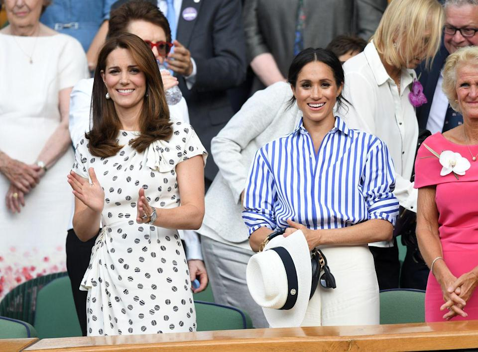 """<p>The Duchess of Cambridge and the Duchess of Sussex made their first joint solo appearance at Wimbledon to watch Serena Williams play Germany's Angelique Kerber. <a href=""""https://www.townandcountrymag.com/style/fashion-trends/a22145209/kate-middleton-polka-dot-dress-wimbledon-2018-photos/"""" rel=""""nofollow noopener"""" target=""""_blank"""" data-ylk=""""slk:Kate wore a polka-dot Jenny Packham dress"""" class=""""link rapid-noclick-resp"""">Kate wore a polka-dot Jenny Packham dress</a>.</p>"""