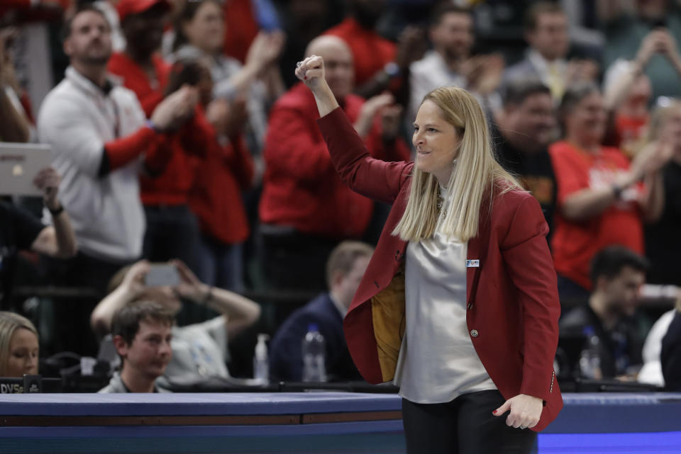 Maryland head coach Brenda Frese reacts after Maryland defeated Ohio State to win the NCAA college basketball championship game at the Big Ten Conference tournament, Sunday, March 8, 2020, in Indianapolis. Maryland defeated Ohio State 82-65. (AP Photo/Darron Cummings)