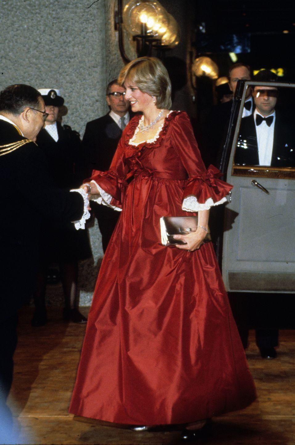 <p>The 1980s was the decade in which royal maternity wear took a more fashionable turn. Later in her pregnancy with Prince William, Princess Diana turned heads with an empire-waist red taffeta evening gown. The design was specially made into a maternity dress by the designer David Sassoon. </p>
