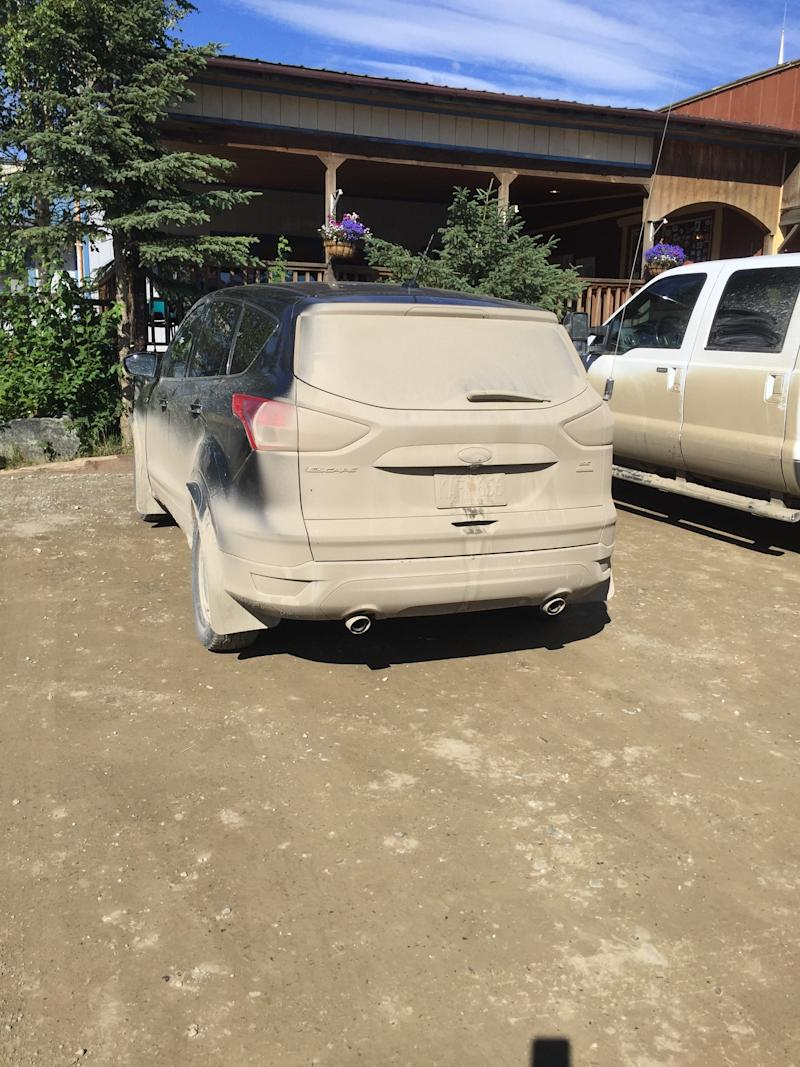 This is what a car that's been on the unpaved Dalton Highway looks like. (Photo by Ann Brenoff)
