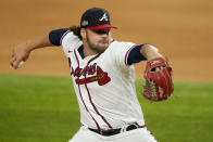 Atlanta Braves relief pitcher Bryse Wilson trows against the Los Angeles Dodgers during the first inning in Game 4 of a baseball National League Championship Series Thursday, Oct. 15, 2020, in Arlington, Texas. (AP Photo/Tony Gutierrez)