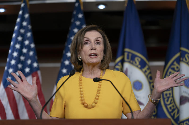 Speaker of the House Nancy Pelosi, D-Calif., meets with reporters before joining congressional leaders at a closed-door security briefing on the rising tensions with Iran, at the Capitol in Washington, Thursday, June 20, 2019. (AP Photo/J. Scott Applewhite)
