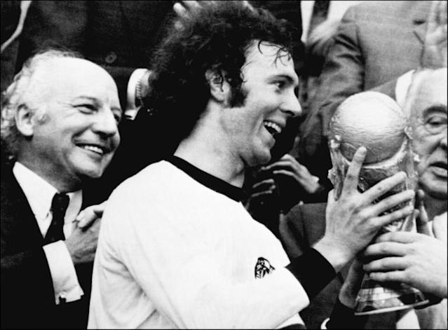 Franz Beckenbauer was the first captain to grasp the current World Cup trophy after Germany beat the Netherlands in 1974