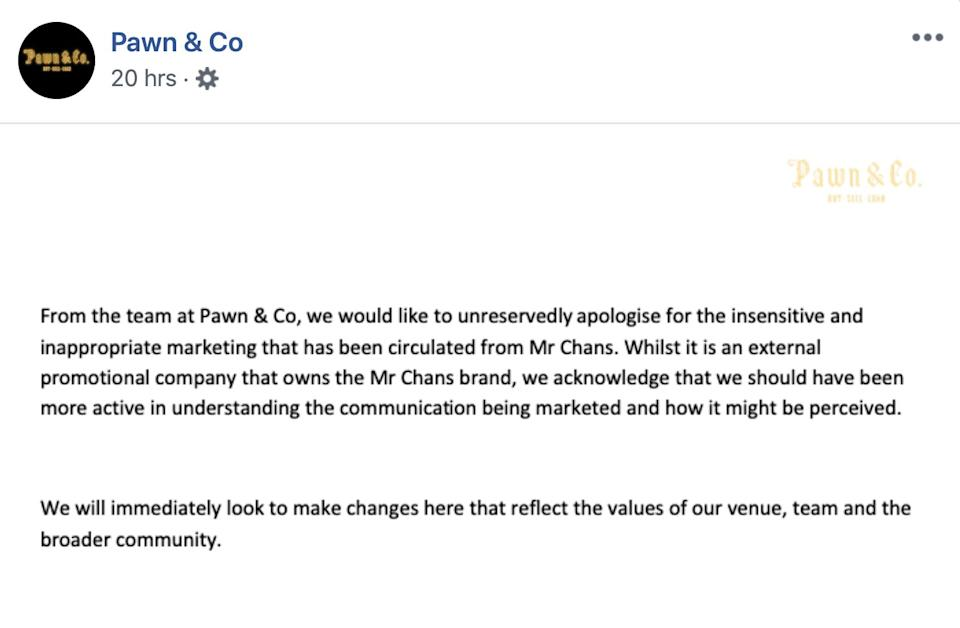 Pawn & Co issued an apology on Wednesday.  (Photo: Pawn & Co/Facebook )