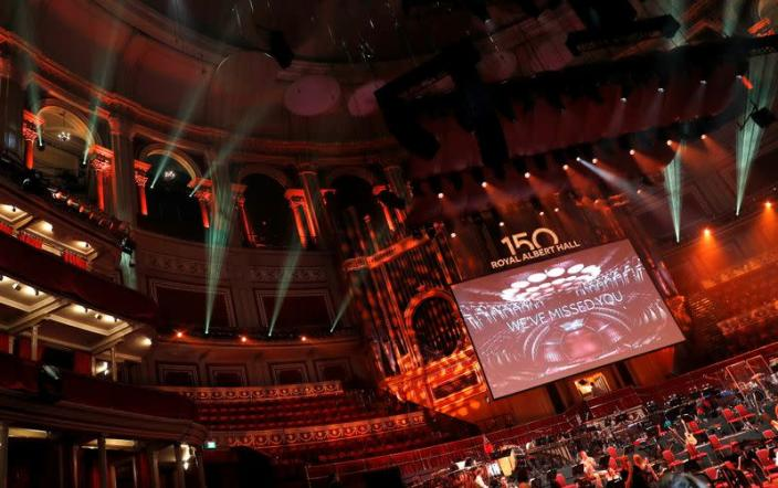 A technical rehearsal takes place before the 150th Anniversary Concert: David Arnold's 'A circle of sound', at the Royal Albert Hall in London