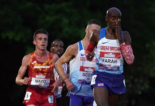 Great Britain's Sir Mo Farah was also in the Midlands but could only finish eighth at the British 10,000m Championships