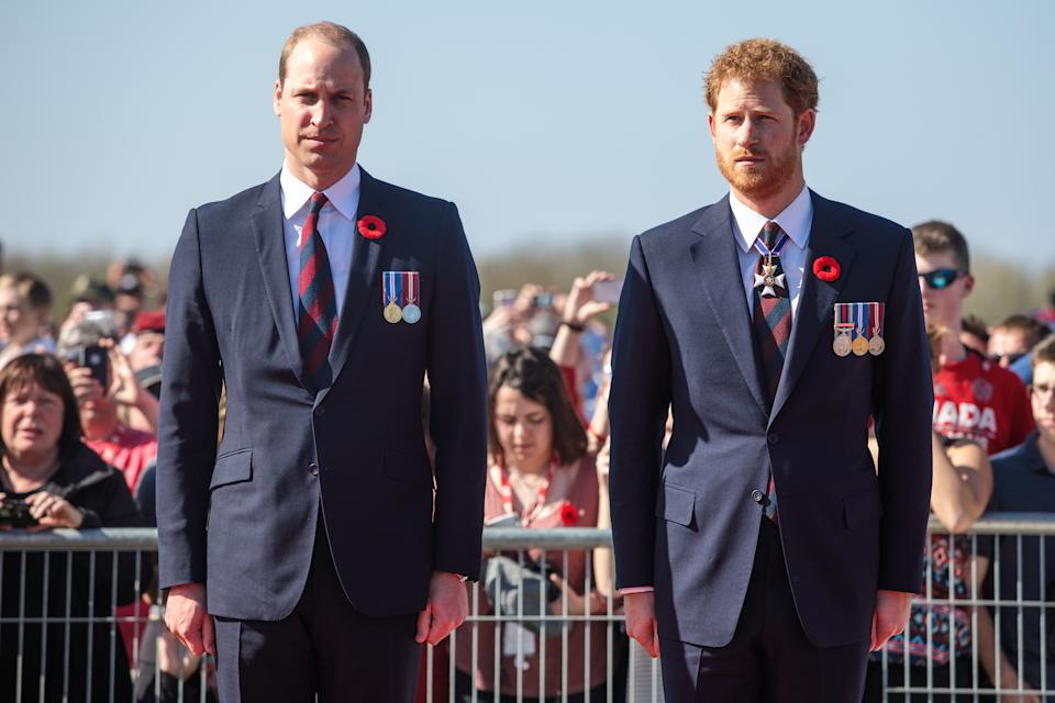 Prince William, Duke of Cambridge and Prince Harry arrive at the Canadian National Vimy Memorial on April 9, 2017 in Vimy, France. The Prince of Wales, The Duke of Cambridge and Prince Harry along with Canadian Prime Minister Justin Trudeau and French President Francois Hollande attend the centenary commemorative service at the Canadian National Vimy Memorial.