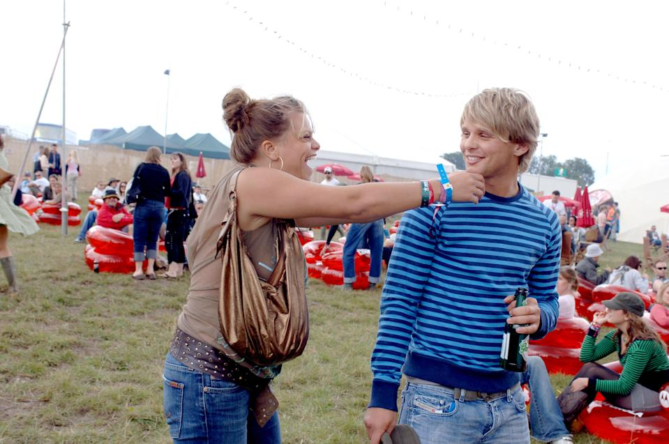 Jade Goody and Jeff Brazier in the Virgin Mobile Louder Lounge at the V Festival (Photo by Jon Furniss/WireImage)