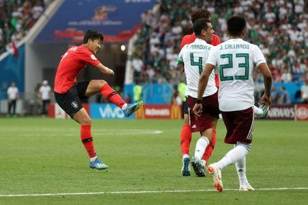 Soccer Football - World Cup - Group F - South Korea vs Mexico - Rostov Arena, Rostov-on-Don, Russia - June 23, 2018 South Korea's Son Heung-min scores their first goal REUTERS/Marko Djurica