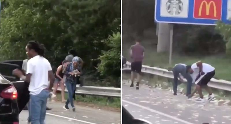 Pictured left is a man jumping into a car with a handful of cash on an Atlanta highway after an armoured truck's door opened up. Right are two men bending down at the roadside to grab money.