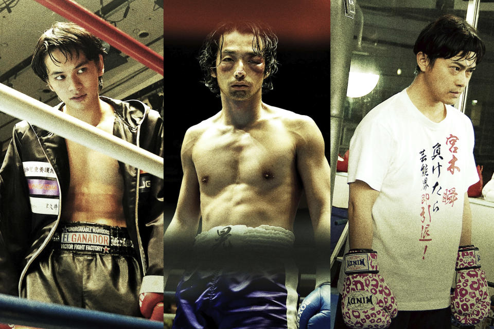 """This undated combination image of photos provided by 2020 UNDERDOG FILM PARTNERS shows Takumi Kitamura, from left, Mirai Moriyama and Ryo Katsuji, in the movie sets of """"Underdog,"""" directed by Masaharu Take. Take's films have always focused on painful stories about Japan's """"under-class,"""" people who are often overlooked in a nation stereotyped as monolithically well-to-do. """"Underdog"""" opens the Tokyo International Film Festival, which starts Saturday, Oct. 31, 2020. (2020 UNDERDOG FILM PARTNERS via AP)"""