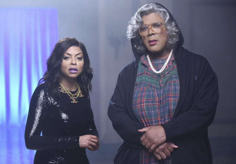 "This image released by FOX shows Taraji P. Henson, left, and guest star Tyler Perry as Madea in ""Taraji's White Hot Holidays,"" a holiday special airing Thursday, Dec. 8 at 8:00 ET/PT on FOX. (Ray Mickshaw/FOX via AP)"