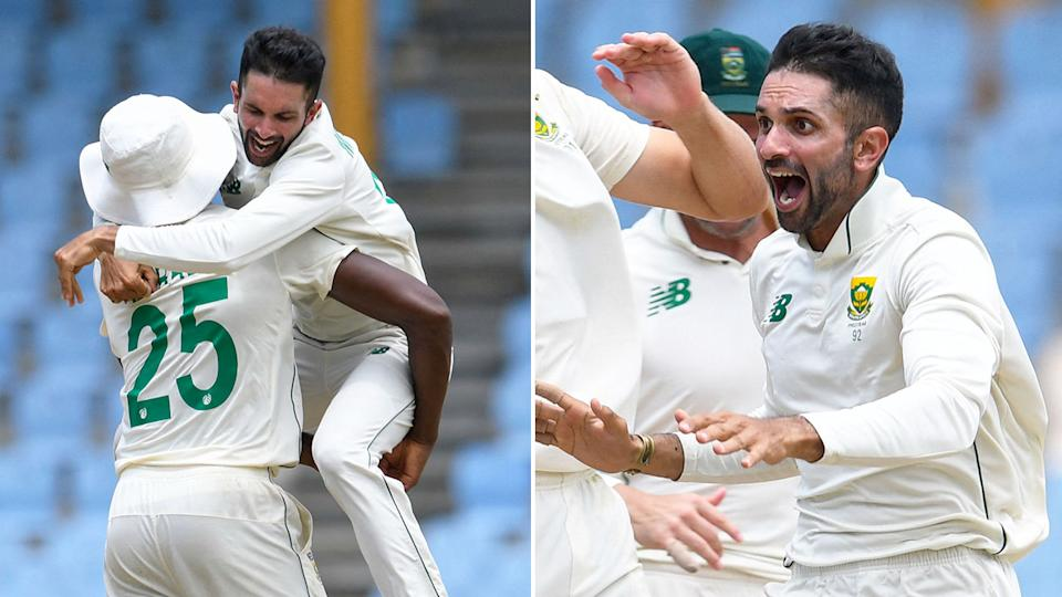 Pictured here, Keshav Maharaj celebrates his hat-trick for South Africa against the West Indies.