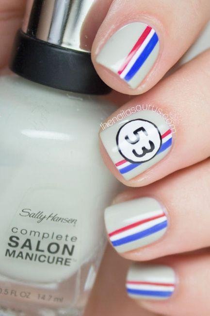 """<p>Herbie-inspired and beauty editor-approved , this is the perfect Independence Day nail art for the vintage lover in you.</p><p><a href=""""http://www.thenailasaurus.com/2014/09/herbie-nail-art.html"""" rel=""""nofollow noopener"""" target=""""_blank"""" data-ylk=""""slk:See more on The Nailasaurus »"""" class=""""link rapid-noclick-resp""""><em>See more on The Nailasaurus »</em></a></p>"""