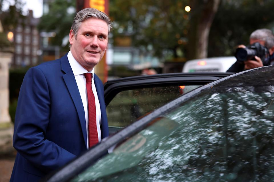 Britain's opposition Labour Party leader Keir Starmer leaves Lambeth Palace following a press conference in London, Britain, October 13, 2020. REUTERS/Simon Dawson
