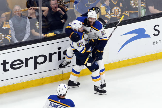 Alex Pietrangelo #27 of the St. Louis Blues celebrates his first period goal with teammate Alexander Steen #20 against the Boston Bruinsin Game Seven of the 2019 NHL Stanley Cup Final at TD Garden on June 12, 2019 in Boston, Massachusetts. (Photo by Rich Gagnon/Getty Images)