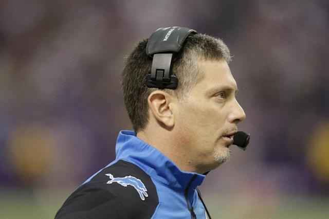 FILE - In this Dec. 29, 2013 file photo, Detroit Lions head coach Jim Schwartz stands on the sidelines during the second half of an NFL football game against the Minnesota Vikings in Minneapolis. Schwartz was fired from the Detroit Lions on Dec. 30, a day after the Lions missed the playoffs with a 7-9 record. The Buffalo Bills announced Friday, Jan. 24, 2014, that they reached a deal with Schwartz as defensive coordinator. (AP Photo/Jim Mone, File)